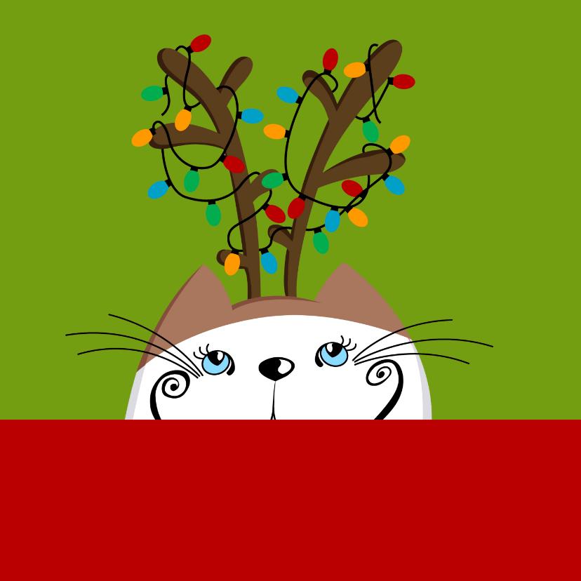 Kerstkaart kat als rendier 2