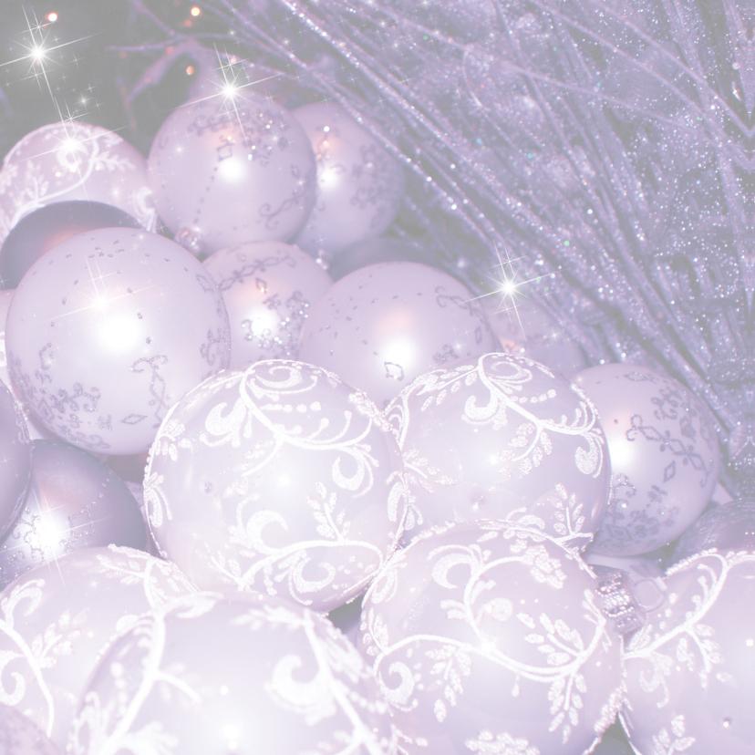 Kerstkaart kerstballen paars -LB 2