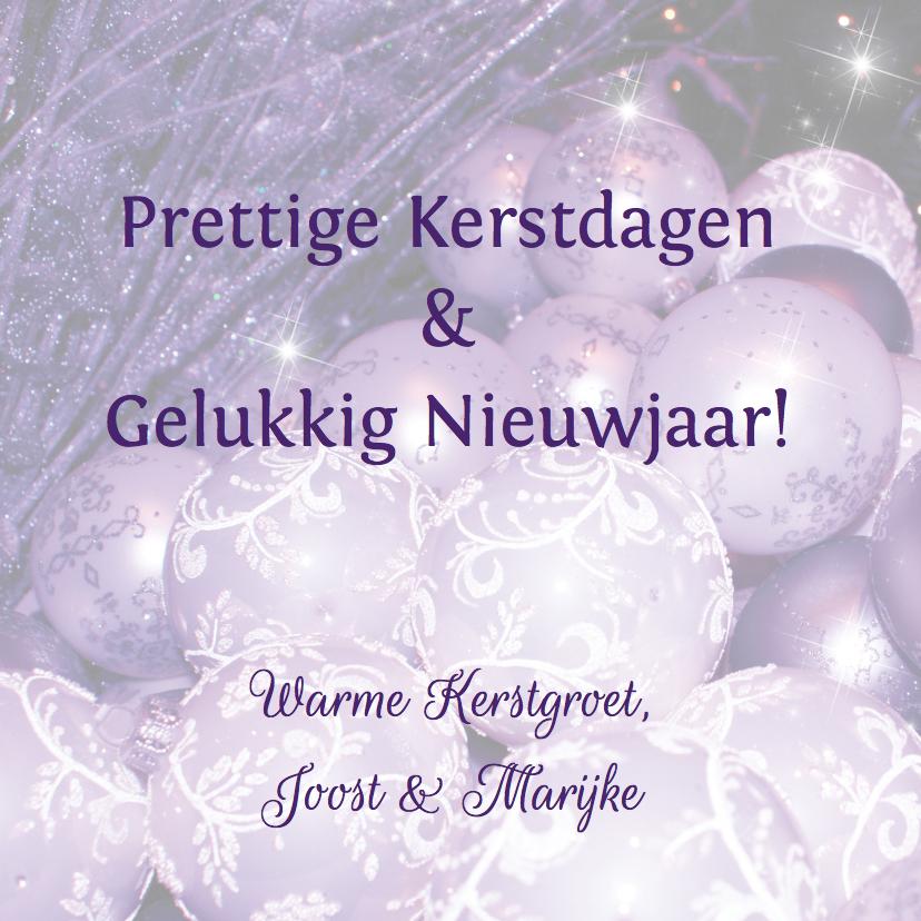 Kerstkaart kerstballen paars -LB 3