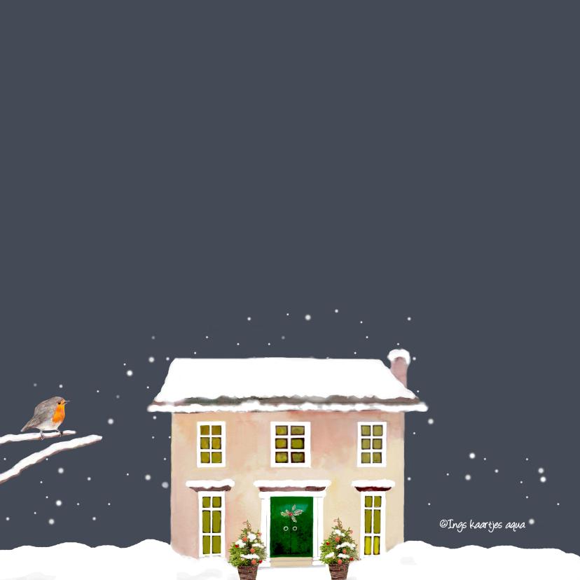 Kerstkaart Kersthuis met engelen 2