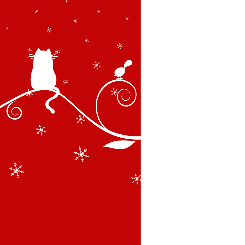 Kerstkaart kerstkat en kerstvogeltjes 2