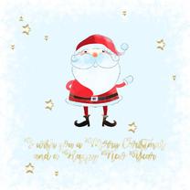 Kerstkaarten - Kerstkaart kerstman-sterren