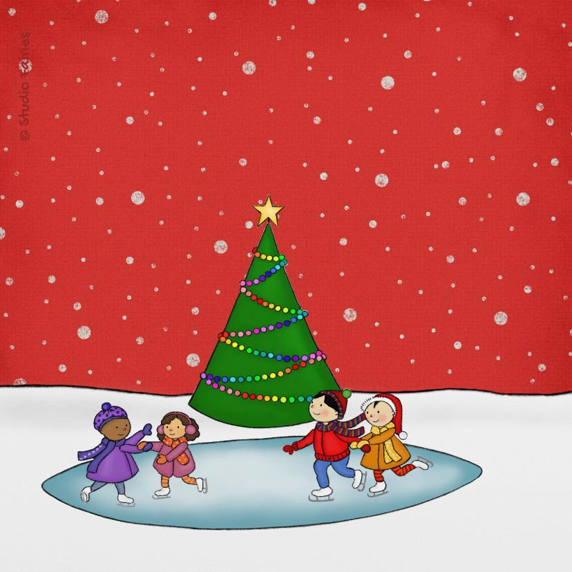 Kerstkaart kerstmis kerst schaatsen 2