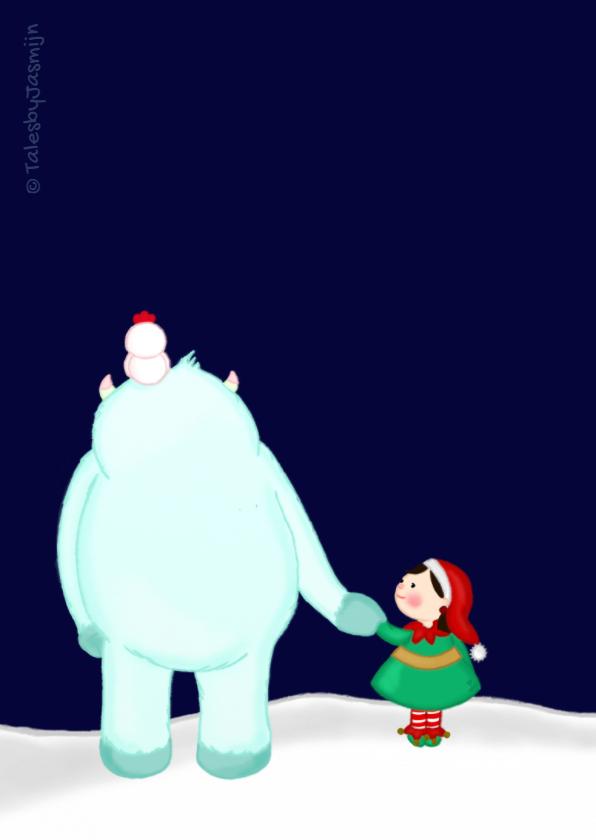 Kerstkaart kerstmis lieve Yeti 2