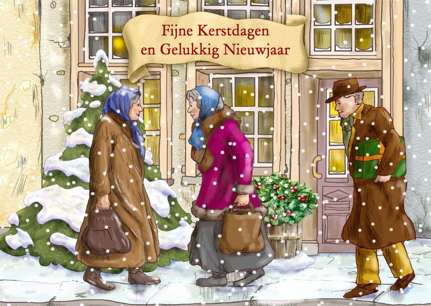 Kerstkaart klassiek zangkoor in winterse omgeving 3