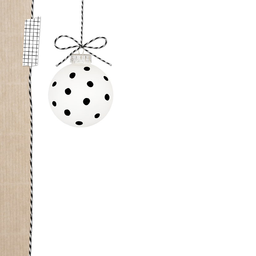 Kerstkaart Kraft Kertballen Wit 2