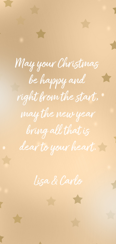 Kerstkaart label sterren en foto Achterkant