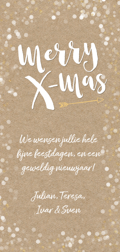 Kerstkaart langwerpig hip vrolijk goud met witte confetti Achterkant