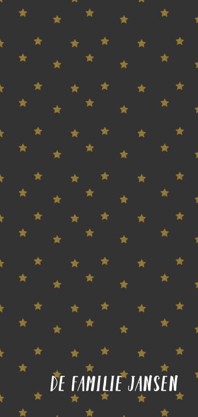 Kerstkaart langwerpig met foto en gouden letters 3