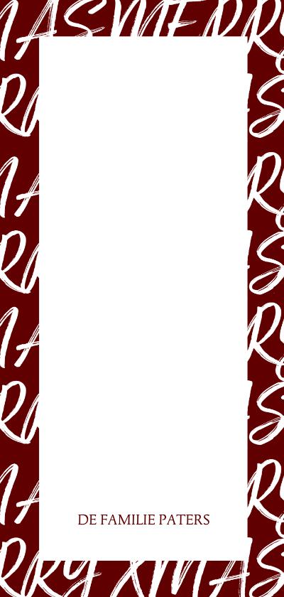 Kerstkaart langwerpig met handgeschreven tekst en foto 3