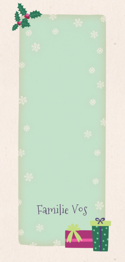 Kerstkaart langwerpig vos - BK Achterkant