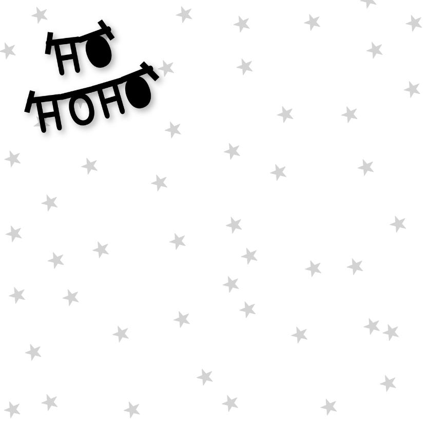 Kerstkaart letterslinger boom zwartwit 2
