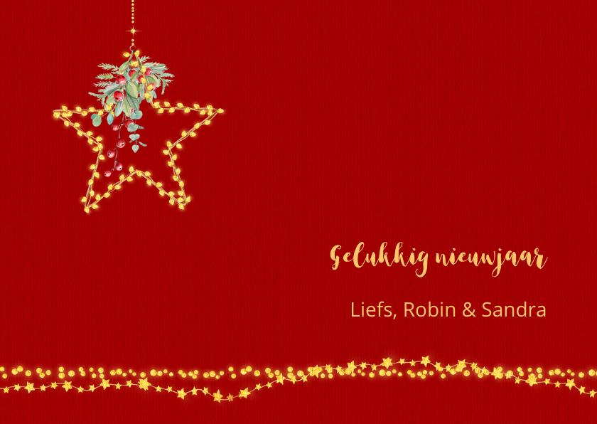 Kerstkaart lichtjes en kaarsen + foto 3