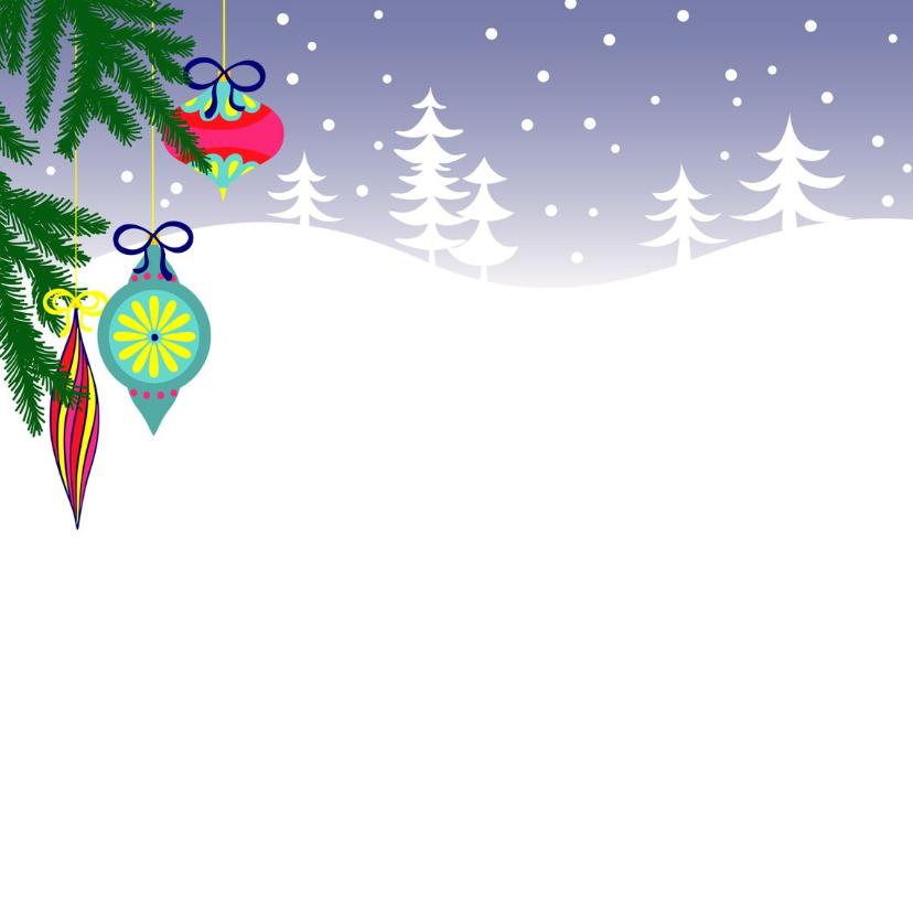 Kerstkaart, luiaard met kerstballen en cadeau's in de sneeuw 2