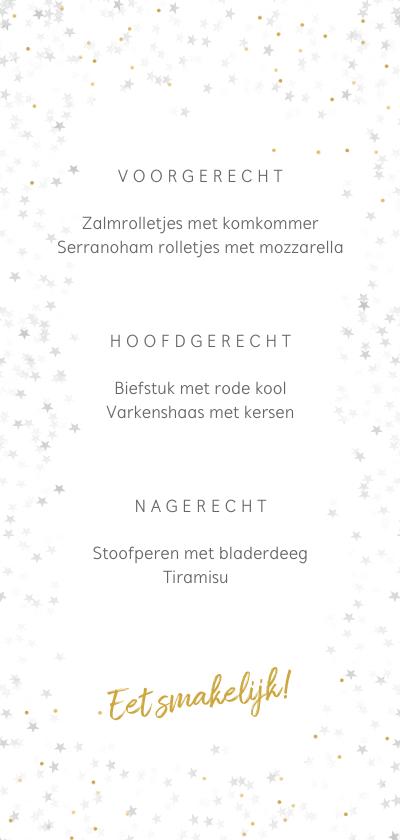 Kerstkaart menukaart voor een sfeervol kerstdiner achterkant