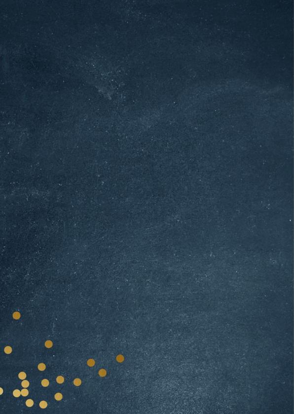 Kerstkaart met blauwe achtergrond en goudlook letters 2
