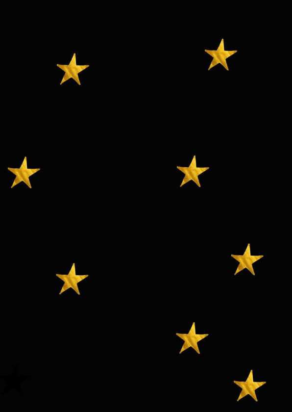 Kerstkaart met collage op zwart met gouden sterren 2