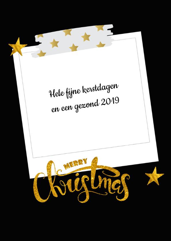 Kerstkaart met collage op zwart met gouden sterren 3