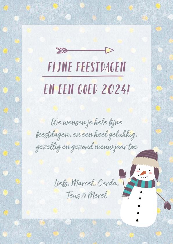 Kerstkaart met eigen foto, sneeuwpop illustratie en stippels 3
