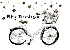 Kerstkaarten - Kerstkaart met fiets en goud