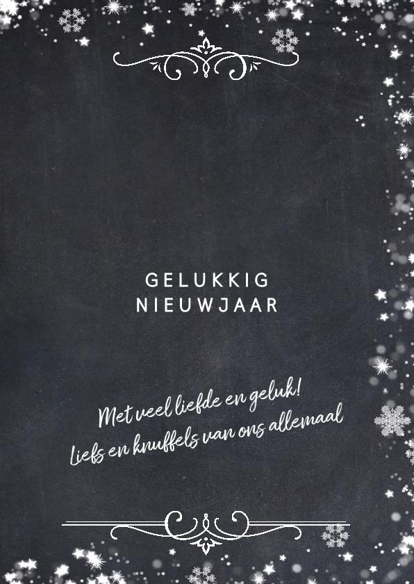 Kerstkaart met gouden sierlijke fotolijst en sneeuwkader 3