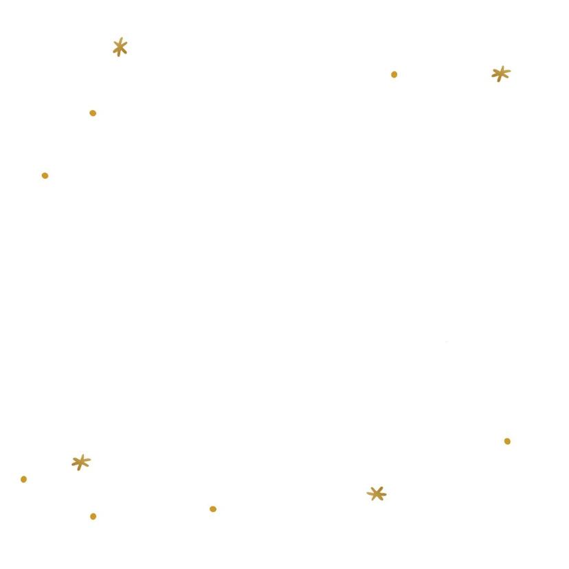 Kerstkaart met gouden sterretjes en handlettering tekst 2