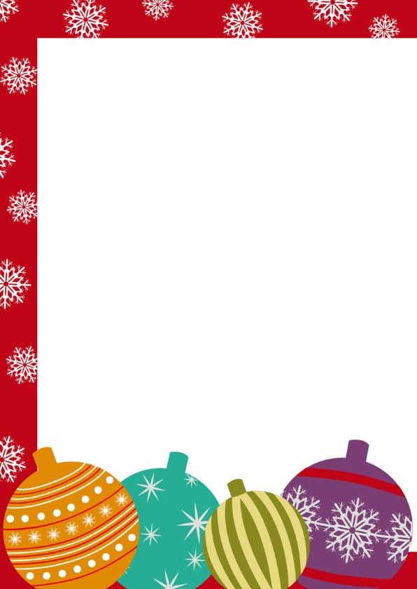 Kerstkaart met kerstballen en foto 2
