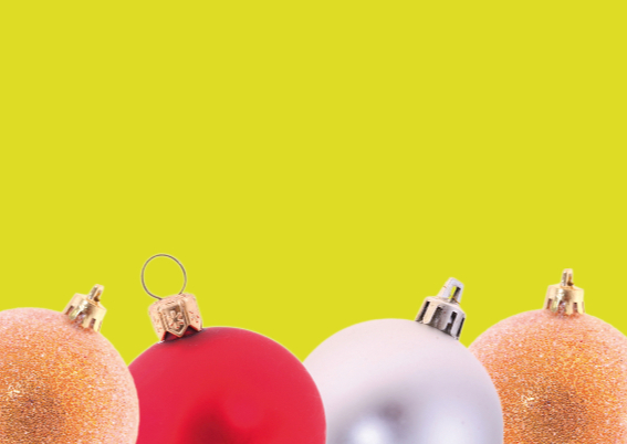 Kerstkaart met kerstballen kader 5 3