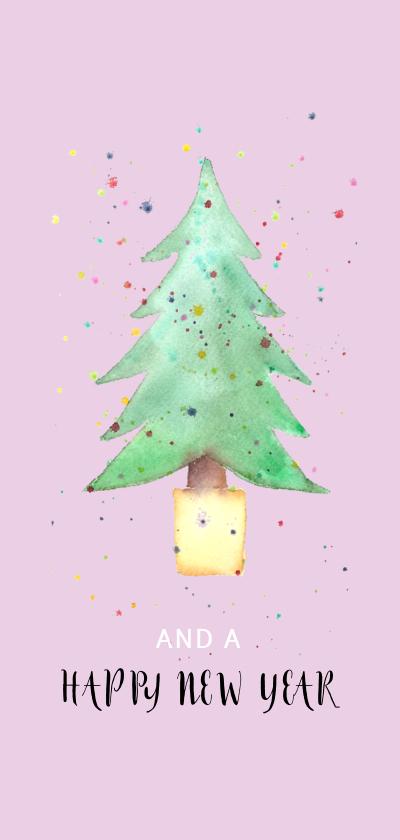 Kerstkaart met kerstboom in aquarel 2