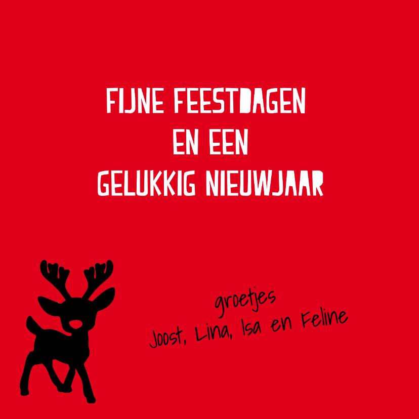 Kerstkaart met Rudolph the red nosed reindeer 3