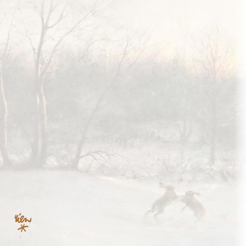 Kerstkaart met wintertafereel 'Hazen in het bos' 2
