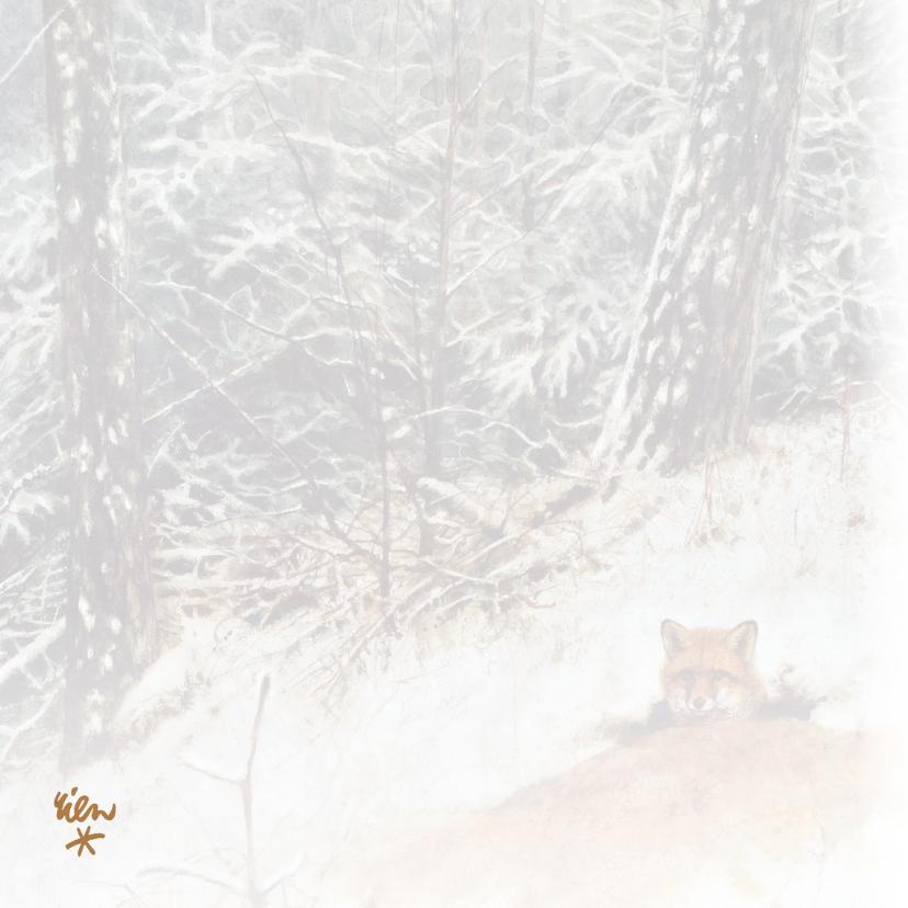 Kerstkaart met wintertafereel 'Vos in winterbos' 2