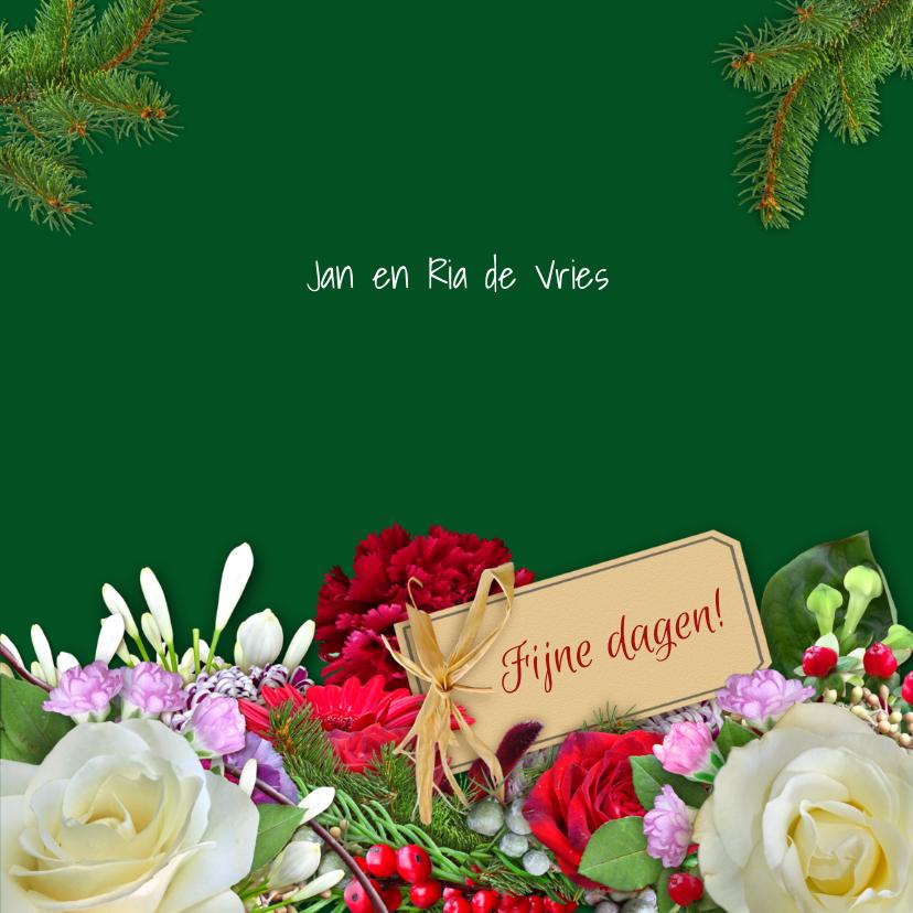 Kerstkaart met witte rozen en andere bloemen - HE 3