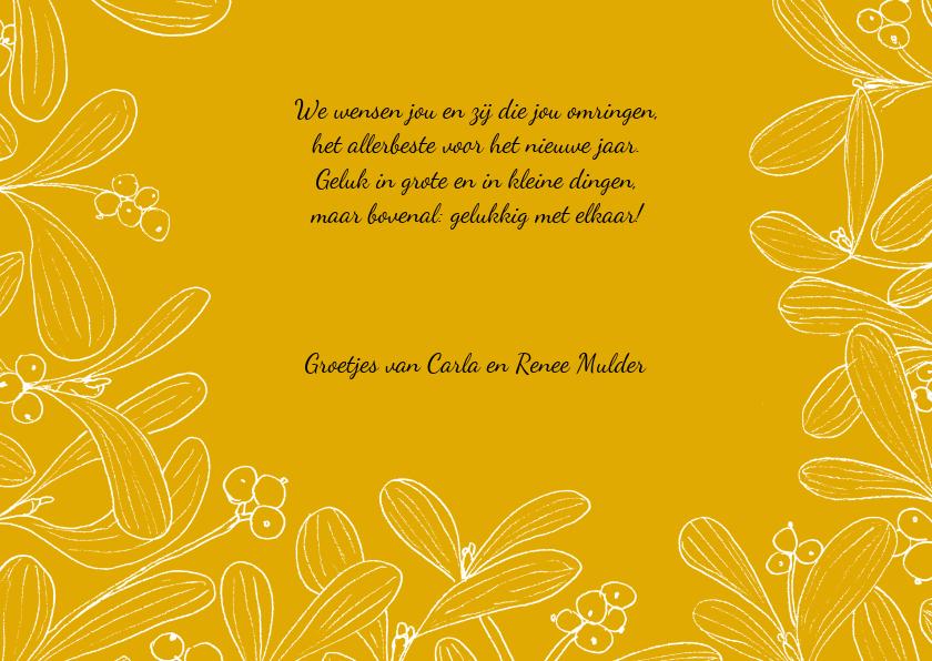 Kerstkaart mistletoe fotokaart met gele achtergrond 3