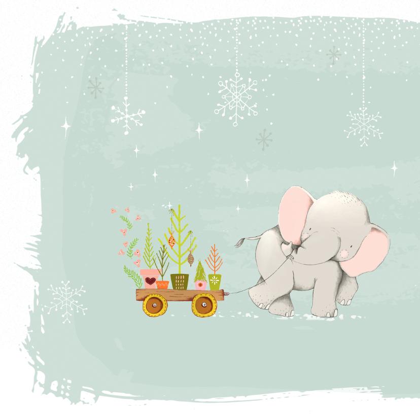 Kerstkaart olifant met kerstboompjes 2