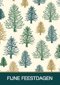 Kerstkaarten - Kerstkaart patroon kerstbomen