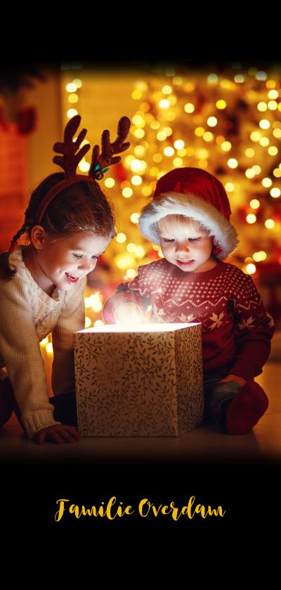 Kerstkaart prachtig zwart met eigen foto's Achterkant