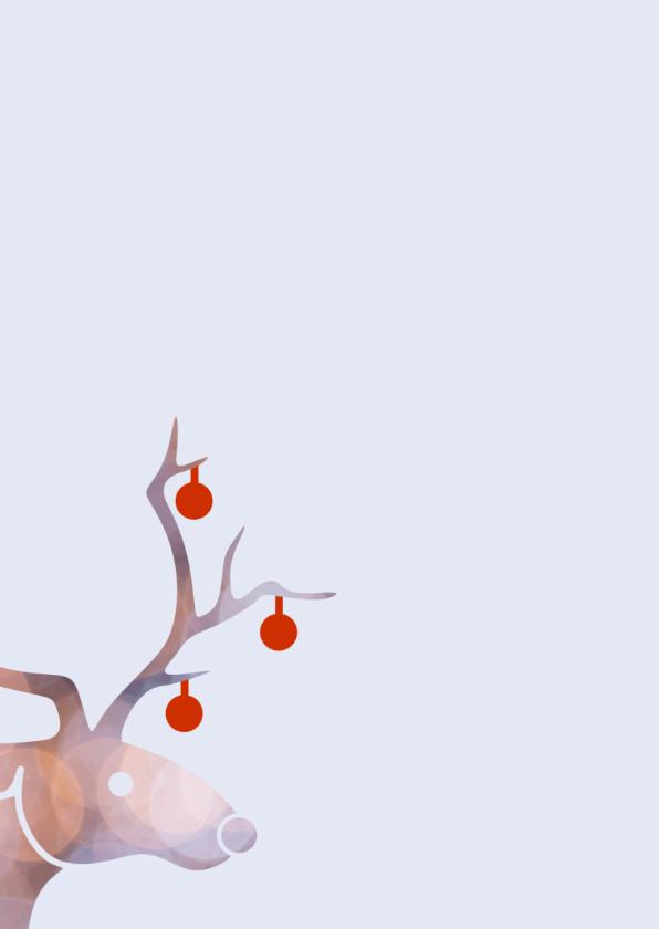 kerstkaart rendier en kerstballen 2
