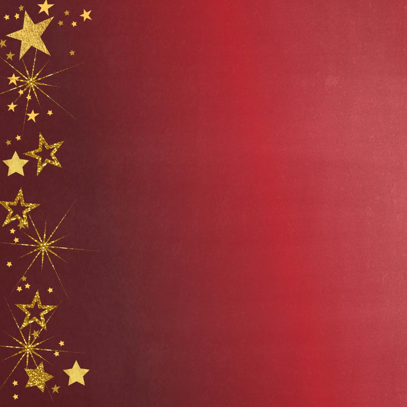 Kerstkaart rode feestelijk fotokaart gouden sterren  2