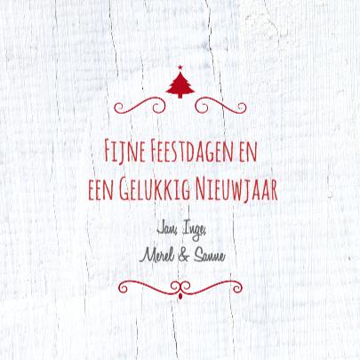Kerstkaart rode ster wit hout 3