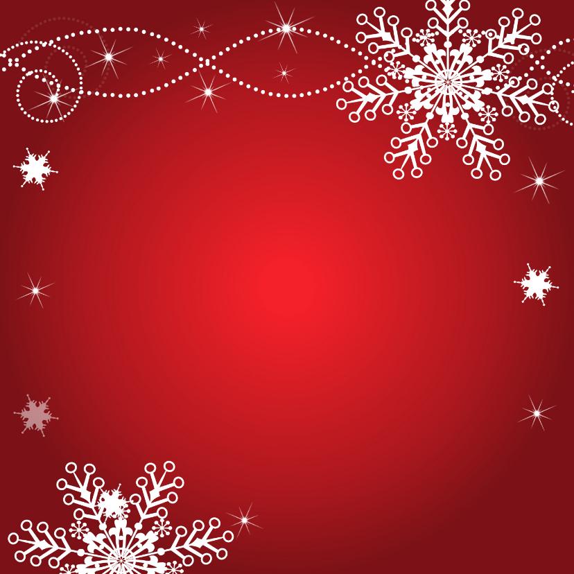 Kerstkaart rood fotocollage sneeuwvlokken 2