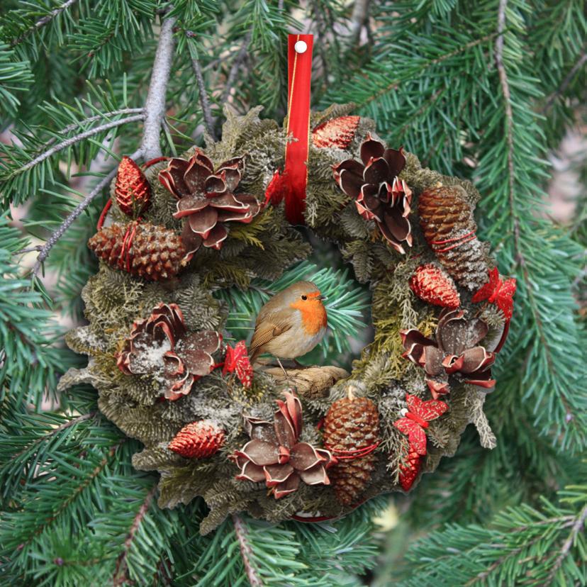 Kerstkaart roodborstje en bord 2