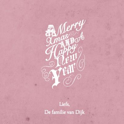Kerstkaart roze tekst & foto's 3