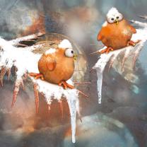 Kerstkaarten - Kerstkaart sneeuwbalgevecht