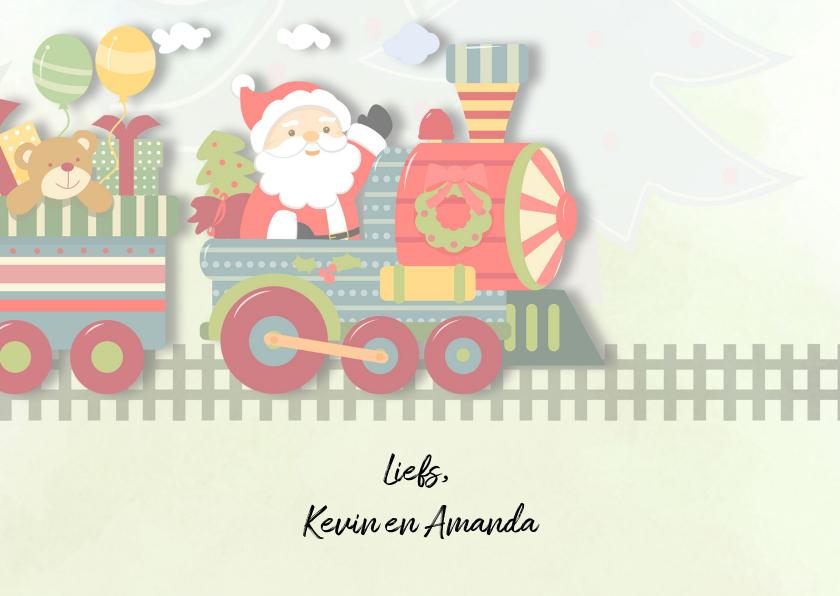 Kerstkaart speelgoedtrein 3