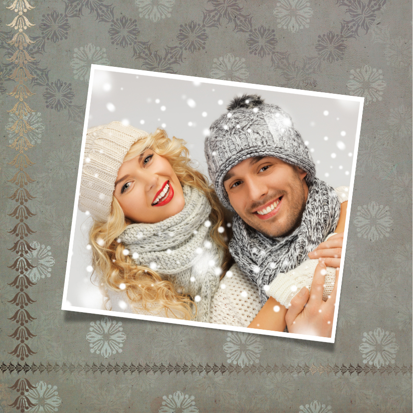 Kerstkaart stijlvol eigen foto's en rendier 2