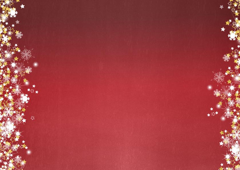 Kerstkaart stijlvol en romantisch rood met vele sterren 2
