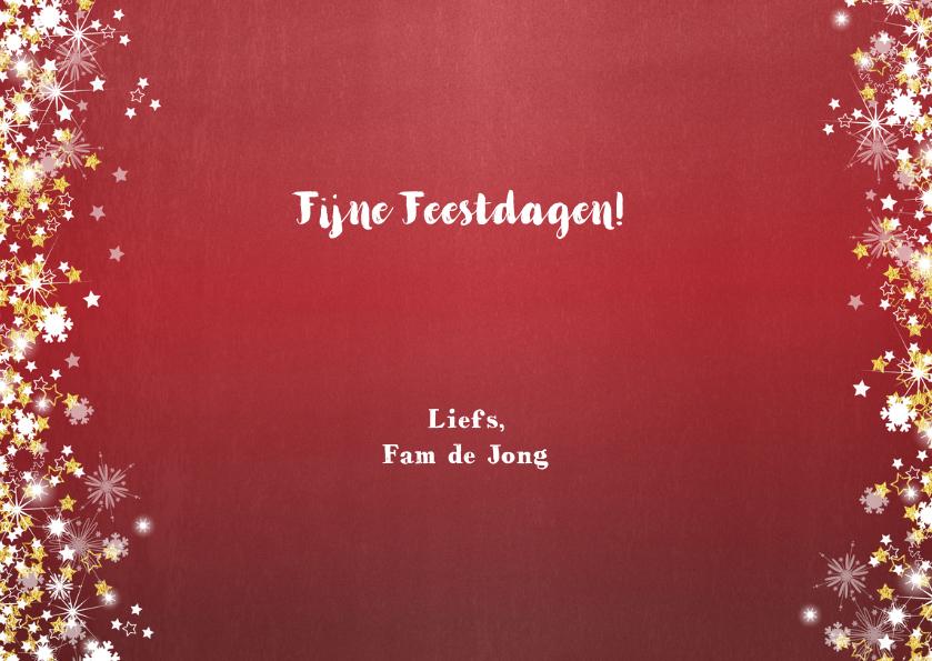 Kerstkaart stijlvol en romantisch rood met vele sterren 3