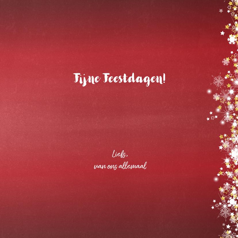 Kerstkaart stijlvol en romantisch rood sterren en sneeuw 3