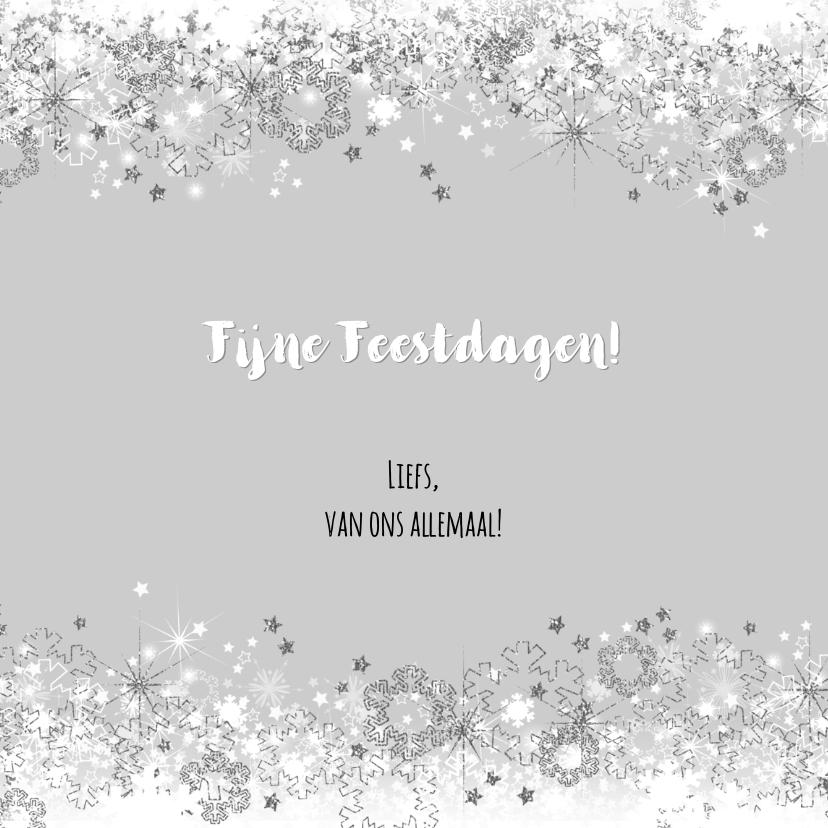 Kerstkaart stijlvolle foto kaart ster en sneeuw zilver wit 3